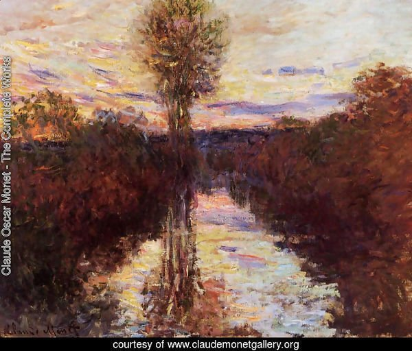 The Small Arm Of The Seine At Mosseaux  Evening
