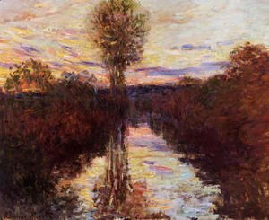 Claude Oscar Monet - The Small Arm Of The Seine At Mosseaux  Evening