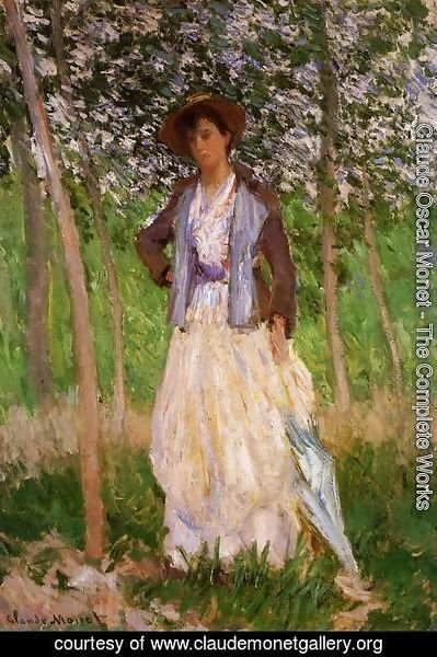 Claude Oscar Monet - The Stroller (Suzanne Hischede) Aka Taking A Walk