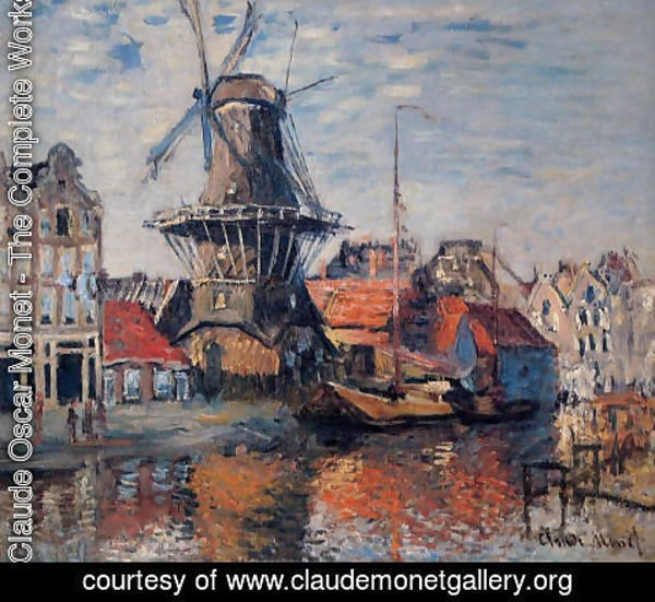 Claude Oscar Monet - The Windmill On The Onbekende Canal  Amsterdam