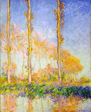 Claude Oscar Monet - Three Poplar Trees  Autumn Effect
