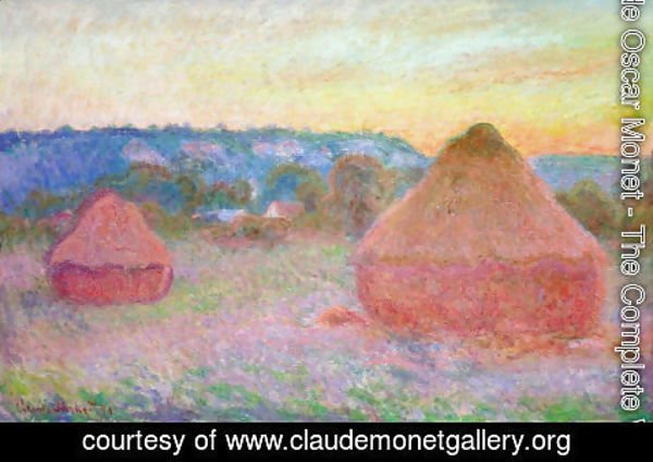 Claude Oscar Monet - Two Grainstacks At The End Of The Day  Autumn