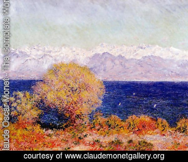 Claude Oscar Monet - View Of Cap D Antibes Aka View Of The Bay And Maritime Alps At Antibes