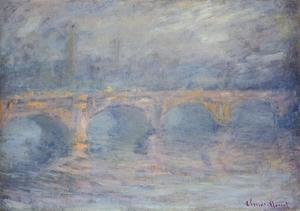 Claude Oscar Monet - Waterloo Bridge At Sunset  Pink Effect