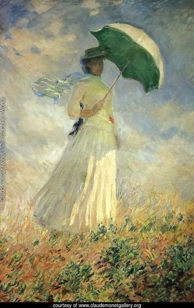 Woman With A Parasol  Facing Right Aka Study Of A Figure Outdoors (Facing Right)