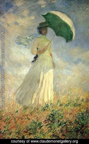 Claude Oscar Monet - Woman With A Parasol  Facing Right Aka Study Of A Figure Outdoors (Facing Right)
