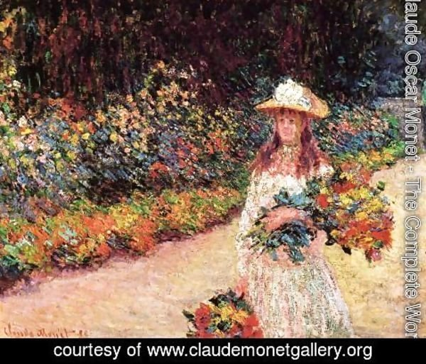 Claude Oscar Monet - Young Girl In The Garden At Giverny