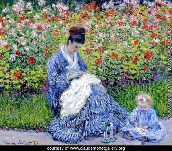 Madame Monet and Child (Camille Monet and a Child in a Garden)
