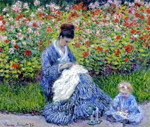 Claude Oscar Monet - Madame Monet and Child (Camille Monet and a Child in a Garden)