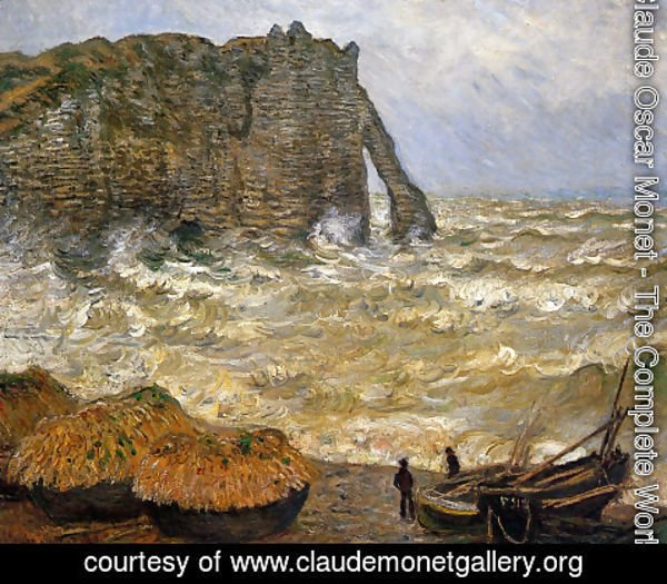 Claude Oscar Monet - Rough Sea, Etretat (La Porte d'Aval)