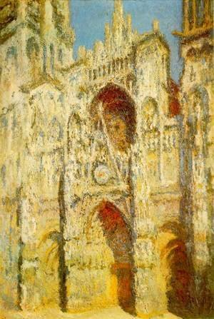 Claude Oscar Monet - Rouen Cathedral: The Portal and the Saint-Romain Tower in Full Sun, Harmony in Blue and Gold
